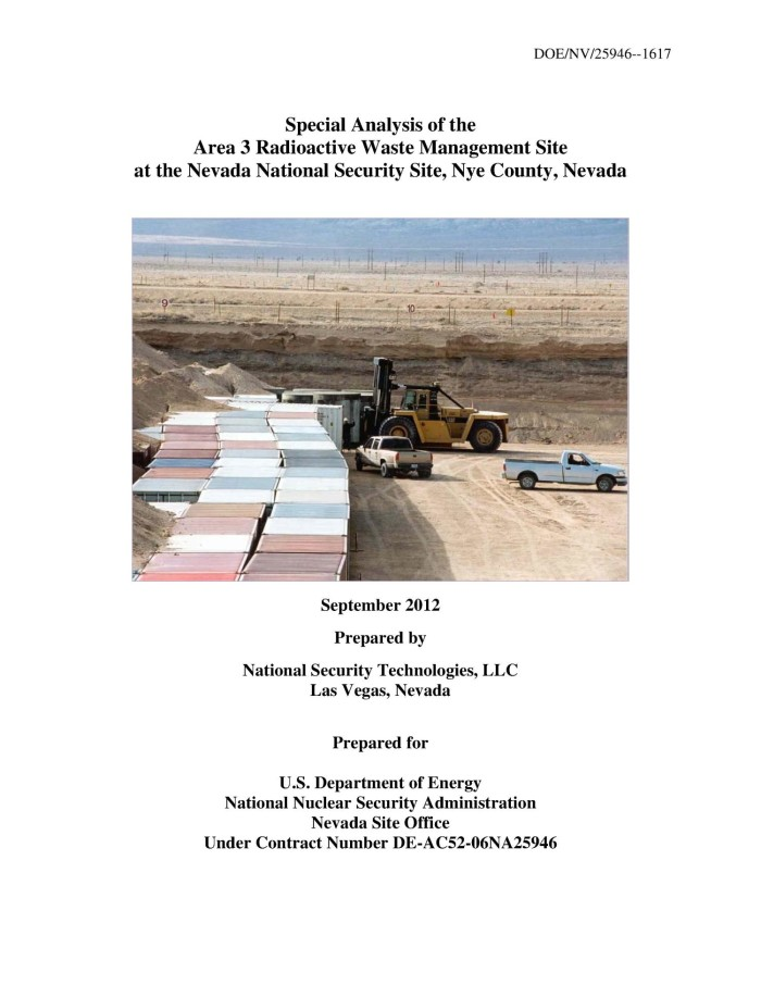 Special Analysis of the Area 3 Radioactive Waste Management Site at