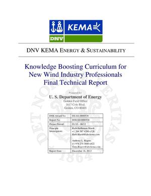 Primary view of object titled 'Knowledge Boosting Curriculum for New Wind Industry Professionals Final Technical Report'.
