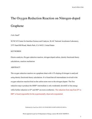 Primary view of object titled 'The Oxygen Reduction Reaction on Nitrogen-Doped Graphene'.