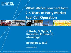 Primary view of object titled 'What We've Learned from 2.5 Years of Early Market Fuel Cell Operation (Presentation)'.