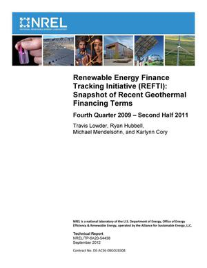 Primary view of object titled 'Renewable Energy Finance Tracking Initiative (REFTI): Snapshot of Recent Geothermal Financing Terms, Fourth Quarter 2009 - Second Half 2011'.