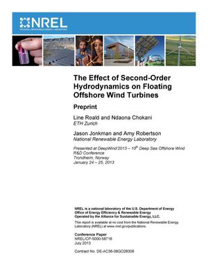 Primary view of object titled 'Effect of Second-Order Hydrodynamics on Floating Offshore Wind Turbines: Preprint'.
