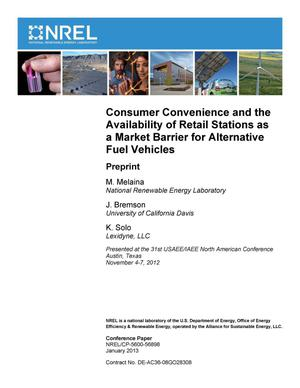 Primary view of object titled 'Consumer Convenience and the Availability of Retail Stations as a Market Barrier for Alternative Fuel Vehicles: Preprint'.