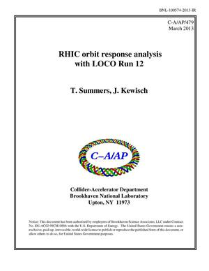 Primary view of object titled 'RHIC orbit response analysis with LOCO Run 12'.