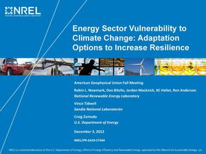 Primary view of object titled 'Energy Sector Vulnerability to Climate Change: Adaptation Options to Increase Resilience (Presentation)'.
