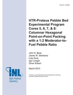 Primary view of object titled 'HTR-PROTEUS PEBBLE BED EXPERIMENTAL PROGRAM CORES 5, 6, 7, & 8: COLUMNAR HEXAGONAL POINT-ON-POINT PACKING WITH A 1:2 MODERATOR-TO-FUEL PEBBLE RATIO'.