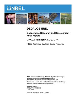 Primary view of object titled 'DEDALOS NREL: Cooperative Research and Development Final Report, CRADA Number CRD-07-237'.