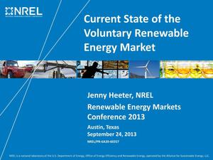 Primary view of object titled 'Current State of the Voluntary Renewable Energy Market (Presentation)'.