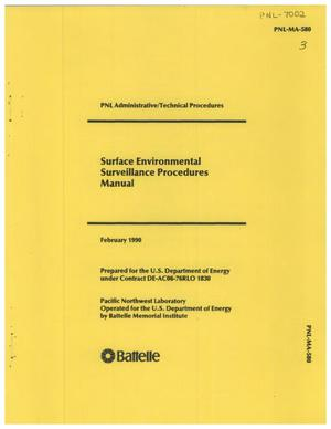 Primary view of object titled 'Surface Environmental Surveillance Procedures Manual'.