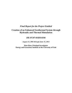 Primary view of object titled 'Creation of an Enhanced Geothermal System through Hydraulic and Thermal Stimulation'.