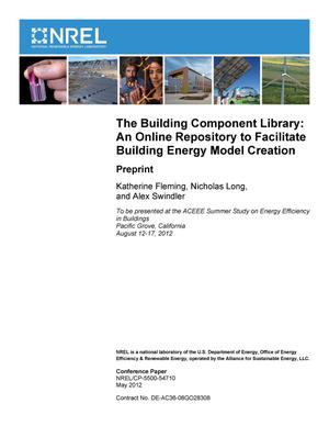 Primary view of object titled 'Building Component Library: An Online Repository to Facilitate Building Energy Model Creation; Preprint'.