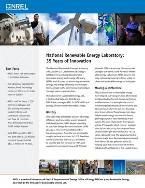 Primary view of object titled 'National Renewable Energy Laboratory: 35 Years of Innovation (Brochure)'.