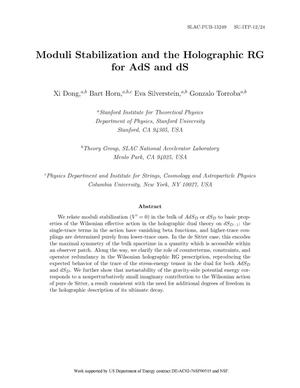 Primary view of object titled 'Moduli Stabilization and the Holographic RG for AdS and dS'.