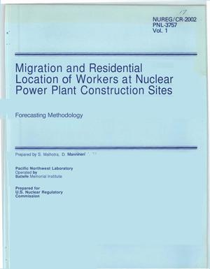 Primary view of object titled 'Migration and Residential Location of Workers at Nuclear Power Plant Construction Sites Forecasting Methodology'.