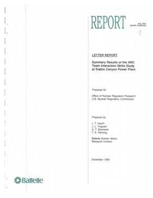 Primary view of object titled 'LETTER REPORT SUMMARY RESULTS OF THE NRC TEAM INTERACTION SKILLS STUDY AT DIABLO CANYON POWER PLANT'.