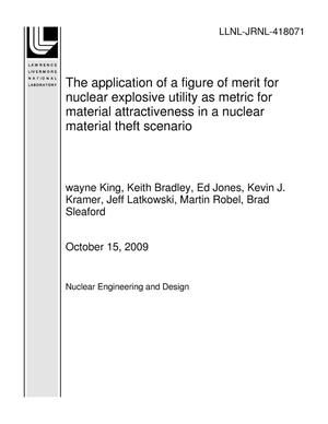 Primary view of object titled 'The application of a figure of merit for nuclear explosive utility as metric for material attractiveness in a nuclear material theft scenario'.