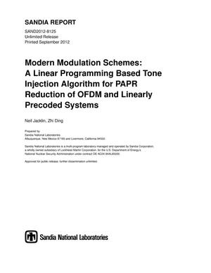 Primary view of object titled 'Modern modulation schemes : a linear programming based tone injection algorithm for PAPR reduction of OFDM and linearly precoded systems.'.