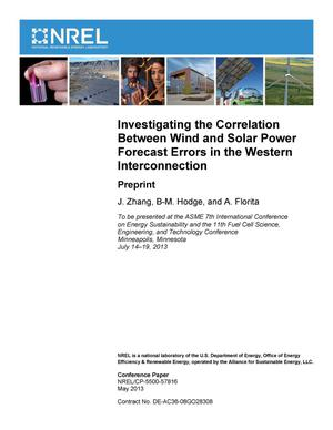 Primary view of object titled 'Investigating the Correlation Between Wind and Solar Power Forecast Errors in the Western Interconnection: Preprint'.