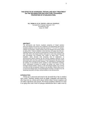 Primary view of object titled 'THE EFFECTS OF HYDROGEN, TRITIUM, AND HEAT TREATMENT ON THE DEFORMATION AND FRACTURE TOUGHNESS PROPERTIES OF STAINLESS STEEL'.