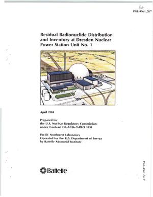 Primary view of object titled 'RESIDUAL RADIONUCLIDE DISTRIBUTION AND INVENTORY AT THE DRESDEN UNIT ONE NUCLEAR GENERATING PLANT'.