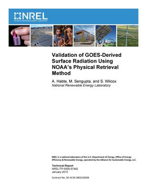 Primary view of object titled 'Validation of GOES-Derived Surface Radiation Using NOAA's Physical Retrieval Method'.