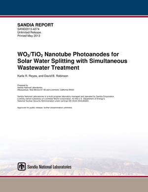 Primary view of object titled 'WO3/TiO2 nanotube photoanodes for solar water splitting with simultaneous wastewater treatment.'.