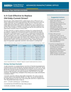 Primary view of object titled 'Is it Cost-Effective to Replace Old Eddy-Current Drives? Motor Systems Tip Sheet #12 (Fact Sheet)'.