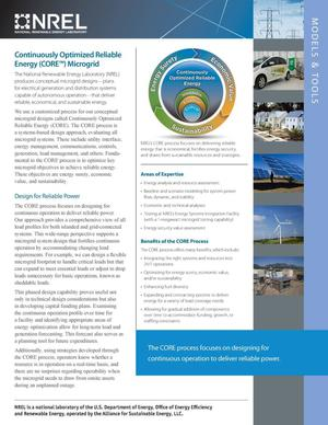 Primary view of object titled 'Continuously Optimized Reliable Energy (CORE) Microgrid: Models & Tools (Fact Sheet)'.