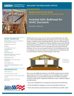 Primary view of object titled 'Inverted Attic Bulkhead for HVAC Ductwork, Roseville, California (Fact Sheet)'.
