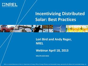 Primary view of object titled 'Incentivizing Distributed Solar: Best Practices (Presentation)'.