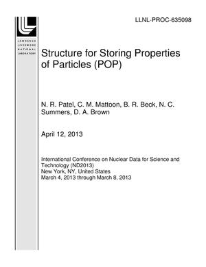 Primary view of object titled 'Structure for Storing Properties of Particles (POP)'.