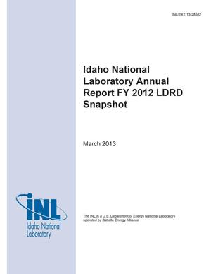 Primary view of object titled 'Idaho National Laboratory Annual Report FY 2012 LDRD Snapshot'.