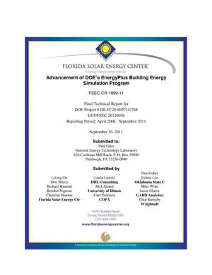 Primary view of object titled 'Advancement of DOE's EnergyPlus Building Energy Simulation Payment'.