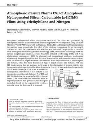 Primary view of object titled 'Atmospheric Pressure Plasma CVD of Amorphous Hydrogenated Silicon Carbonitride (a-SiCN:H) Films Using Triethylsilane and Nitrogen'.