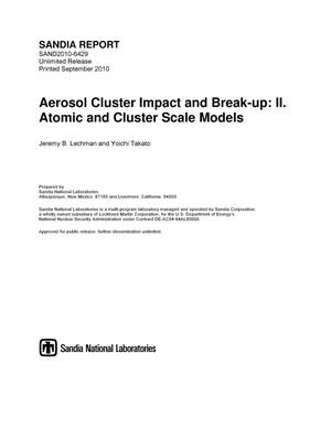 Primary view of object titled 'Aerosol cluster impact and break-up : II. Atomic and Cluster Scale Models.'.