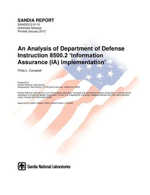 Primary view of object titled 'An Analysis of Department of Defense Instruction 8500.2 'Information Assurance (IA) Implementation.''.