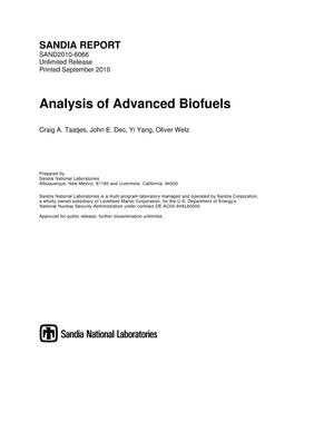 Primary view of object titled 'Analysis of advanced biofuels.'.