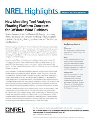 Primary view of object titled 'New Modeling Tool Analyzes Floating Platform Concepts for Offshore Wind Turbines (Fact Sheet)'.