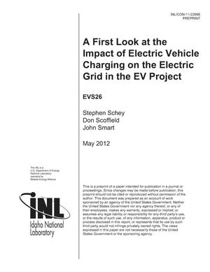 Primary view of object titled 'A First Look at the Impact of Electric Vehicle Charging on the Electric Grid in the EV Project'.