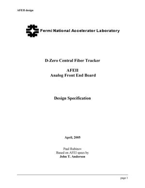 Primary view of object titled 'AFEII Analog Front End Board Design Specifications'.