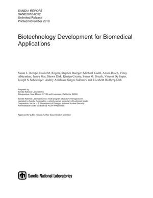 Primary view of object titled 'Biotechnology development for biomedical applications.'.