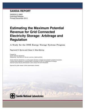 Primary view of object titled 'Estimating the maximum potential revenue for grid connected electricity storage : arbitrage and regulation.'.