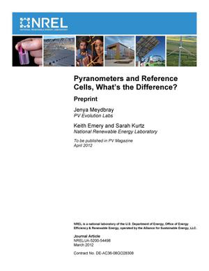 Primary view of object titled 'Pyranometers and Reference Cells, What's the Difference?: Preprint'.