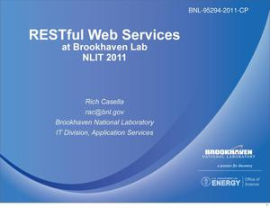 Primary view of object titled 'RESTful Web Services at BNL'.