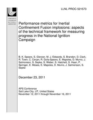 Primary view of object titled 'Performance metrics for Inertial Confinement Fusion implosions: aspects of the technical framework for measuring progress in the National Ignition Campaign'.