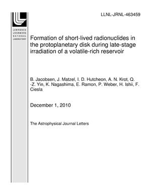 Primary view of object titled 'Formation of short-lived radionuclides in the protoplanetary disk during late-stage irradiation of a volatile-rich reservoir'.