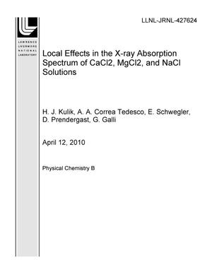 Primary view of object titled 'Local Effects in the X-ray Absorption Spectrum of CaCl2, MgCl2, and NaCl Solutions'.