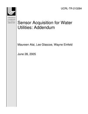Primary view of object titled 'Sensor Acquisition for Water Utilities: Addendum'.