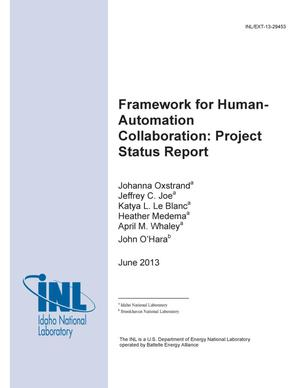 Primary view of object titled 'Framework For Human-Automation Collaboration: Proj'.