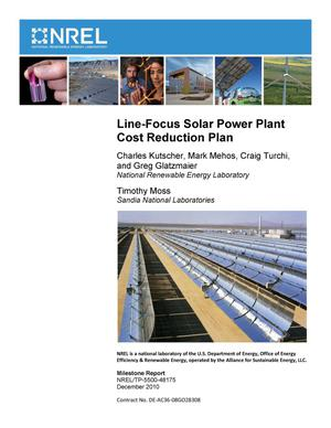 Primary view of object titled 'Line-Focus Solar Power Plant Cost Reduction Plan (Milestone Report)'.